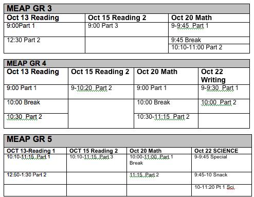 MEAP schedule