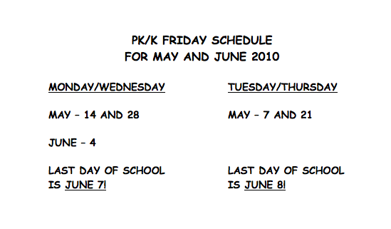 K Friday Sched